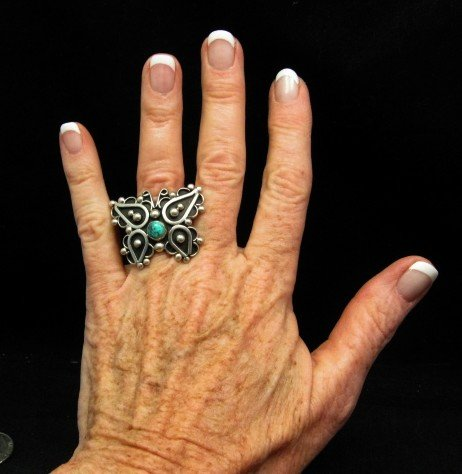 Image 3 of Native American Lorena Nez Silver Turquoise Butterfly Ring sz6