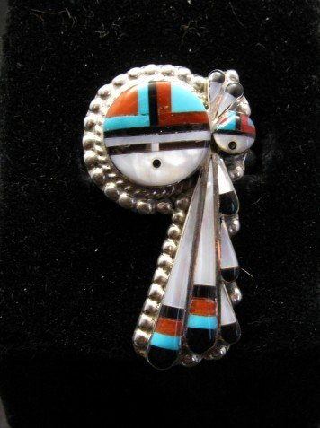 Image 0 of Zuni  Native American Fancy Inlaid Sunface Ring sz8-1/2, Ruth Lonjose