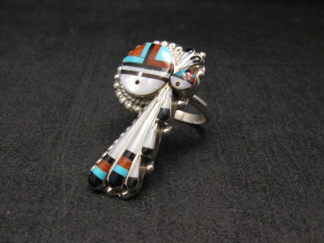 Image 1 of Zuni  Native American Fancy Inlaid Sunface Ring sz8-1/2, Ruth Lonjose
