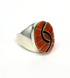 Image 2 of Amy Quandelacy Zuni Coral Hummingbird Sterling Silver Ring Sz11