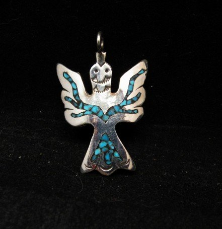 Image 0 of Navajo Sterling Silver Chip Inlay Peyote Bird Waterbird Pendant, Loretta Bia