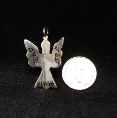 Image 1 of Navajo Sterling Silver Chip Inlay Peyote Bird Waterbird Pendant, Loretta Bia