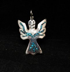 Navajo Sterling Silver Chip Inlay Peyote Bird Waterbird Pendant, Loretta Bia