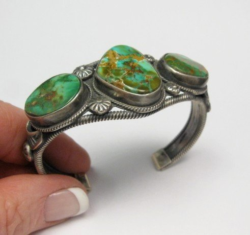Image 1 of Navajo Native American Royston Turquoise Cuff Bracelet, Virgil Begay