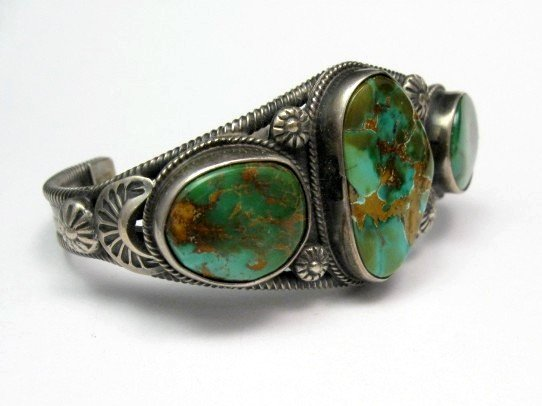 Image 3 of Navajo Native American Royston Turquoise Cuff Bracelet, Virgil Begay
