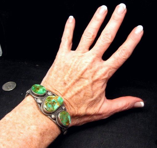 Image 5 of Navajo Native American Royston Turquoise Cuff Bracelet, Virgil Begay