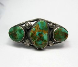 Navajo Native American Royston Turquoise Cuff Bracelet, Virgil Begay