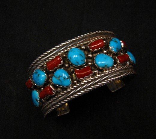 Image 0 of Native American Navajo Turquoise Coral Silver Bracelet, Pearlene Spencer