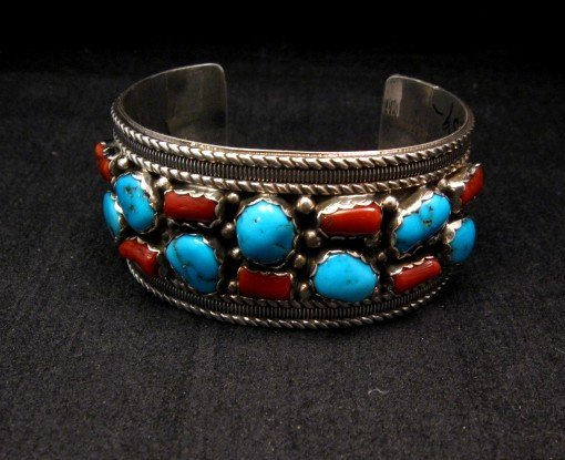 Image 1 of Native American Navajo Turquoise Coral Silver Bracelet, Pearlene Spencer