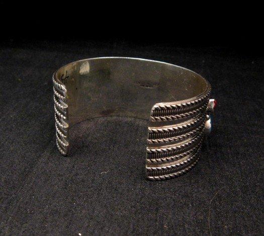 Image 3 of Native American Navajo Turquoise Coral Silver Bracelet, Pearlene Spencer