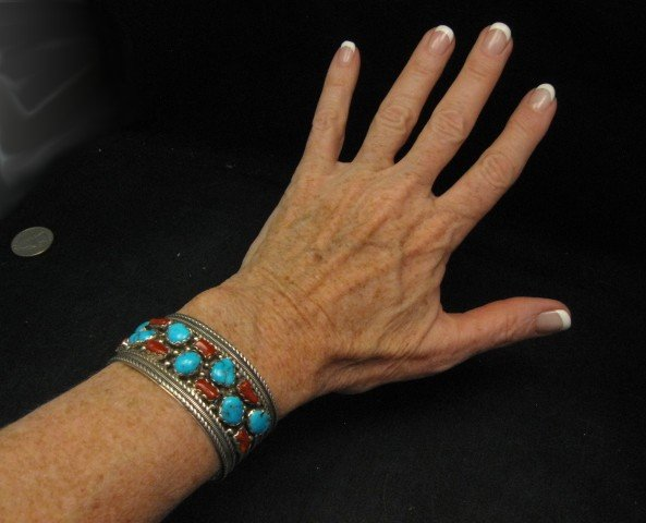 Image 4 of Native American Navajo Turquoise Coral Silver Bracelet, Pearlene Spencer