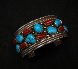 Native American Navajo Turquoise Coral Silver Bracelet, Pearlene Spencer