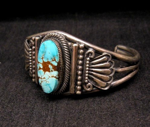 Image 1 of Leon Martinez Navajo Indian Turquoise Sterling Silver Bracelet