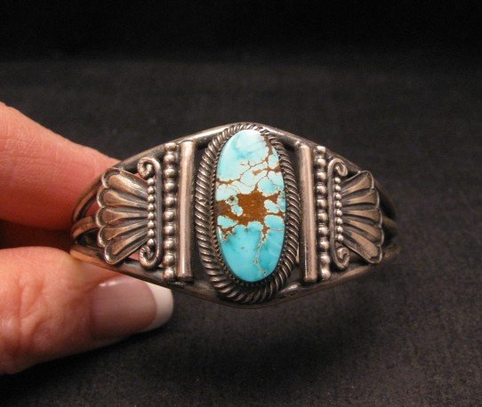 Image 4 of Leon Martinez Navajo Indian Turquoise Sterling Silver Bracelet