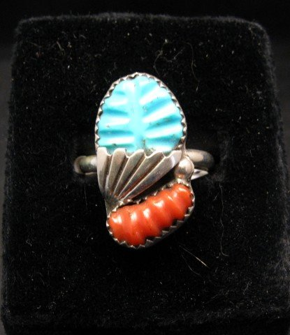 Image 0 of Zuni Native American Carved Turquoise Coral Ring, Loyolita Othole,  sz9-1/2