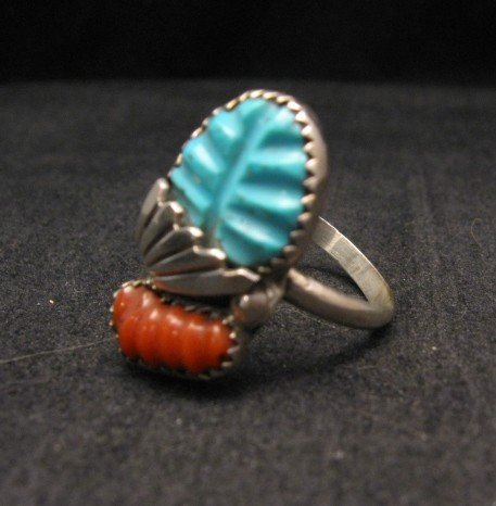 Image 1 of Zuni Native American Carved Turquoise Coral Ring, Loyolita Othole,  sz9-1/2