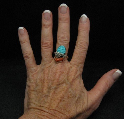 Image 2 of Zuni Native American Carved Turquoise Coral Ring, Loyolita Othole,  sz9-1/2