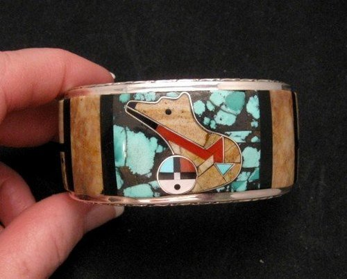 Image 0 of Native American Zuni Gilbert Calavaza Inlaid Bear Pueblo Bracelet