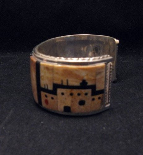 Image 1 of Native American Zuni Gilbert Calavaza Inlaid Bear Pueblo Bracelet
