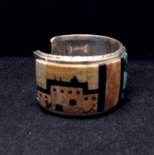 Image 2 of Native American Zuni Gilbert Calavaza Inlaid Bear Pueblo Bracelet