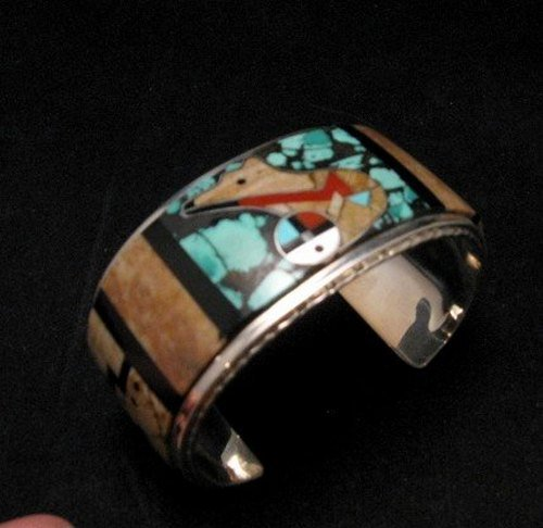 Image 3 of Native American Zuni Gilbert Calavaza Inlaid Bear Pueblo Bracelet