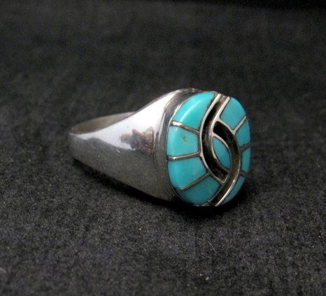 Image 3 of Amy Quandelacy Zuni Turquoise Hummingbird Sterling Silver Ring sz9 sz10