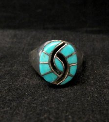 Amy Quandelacy Zuni Turquoise Hummingbird Sterling Silver Ring sz9 sz10