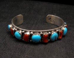 Native American Navajo Turquoise Coral Silver Bracelet, Effie Spencer