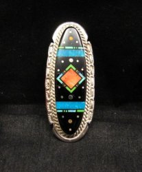 Long Native American Navajo Inlaid Cosmic Ring, Matthew Jack, sz8
