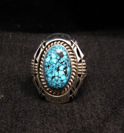 Image 0 of Native American Navajo Kingman Web Turquoise Silver Ring Sz7