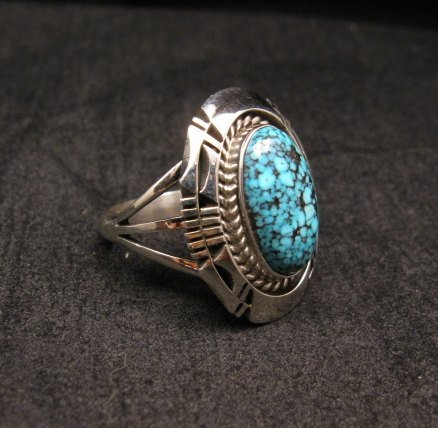 Image 1 of Native American Navajo Kingman Web Turquoise Silver Ring Sz7