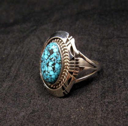 Image 2 of Native American Navajo Kingman Web Turquoise Silver Ring Sz7