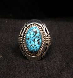 Native American Navajo Kingman Web Turquoise Silver Ring Sz7