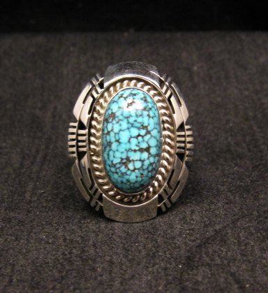 Image 0 of Native American Navajo Kingman Black Web Turquoise Ring Sz8-1/2