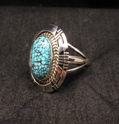 Image 1 of Native American Navajo Kingman Black Web Turquoise Ring Sz8-1/2