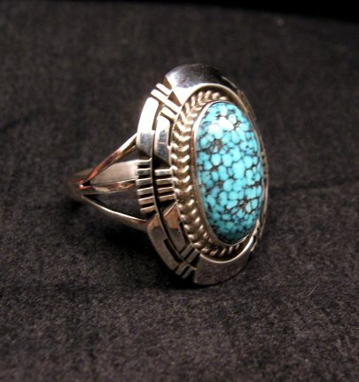 Image 2 of Native American Navajo Kingman Black Web Turquoise Ring Sz8-1/2