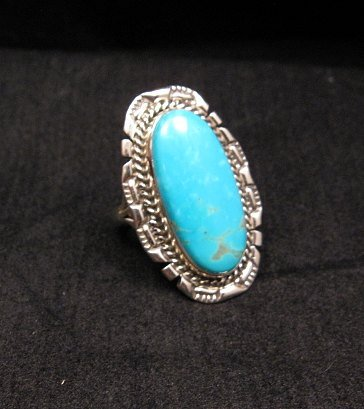 Image 0 of Native American Navajo Kingman Turquoise Sterling Silver Ring Sz8