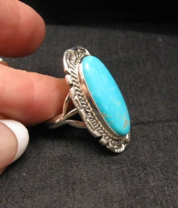 Image 2 of Native American Navajo Kingman Turquoise Sterling Silver Ring Sz8