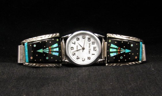 Image 0 of Native American Navajo Multigem Inlay Watch Bracelet, Matthew Jack
