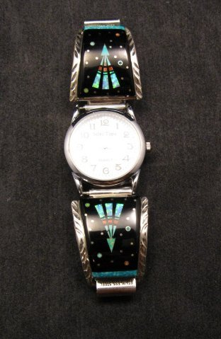 Image 1 of Native American Navajo Multigem Inlay Watch Bracelet, Matthew Jack