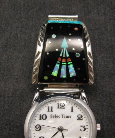 Image 2 of Native American Navajo Multigem Inlay Watch Bracelet, Matthew Jack