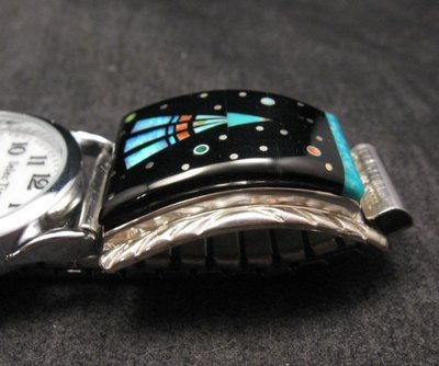 Image 3 of Native American Navajo Multigem Inlay Watch Bracelet, Matthew Jack