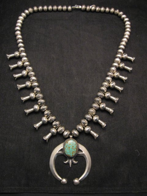 Image 0 of Navajo Native American Turquoise Squash Blossom Necklace, Eugene Hale