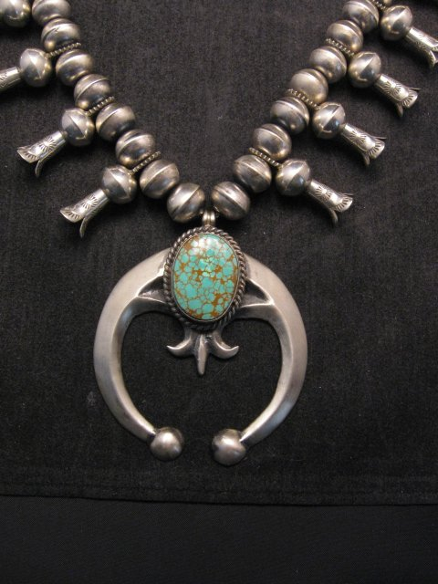 Image 1 of Navajo Native American Turquoise Squash Blossom Necklace, Eugene Hale