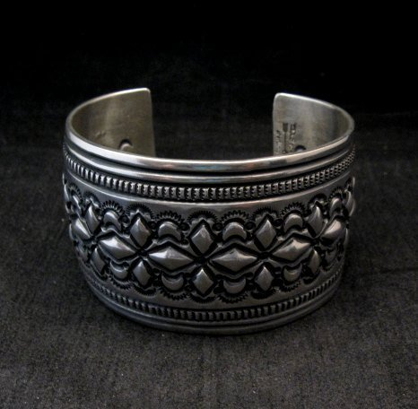 Image 0 of Wide Navajo Handmade Repousse Stamped Sterling Silver Bracelet, Darryl Becenti