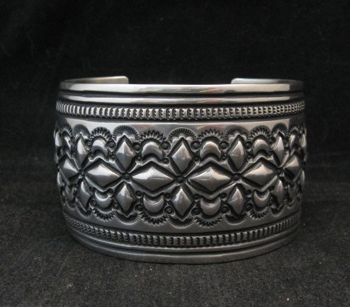 Image 2 of Wide Navajo Handmade Repousse Stamped Sterling Silver Bracelet, Darryl Becenti