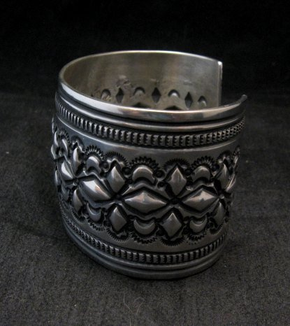 Image 4 of Wide Navajo Handmade Repousse Stamped Sterling Silver Bracelet, Darryl Becenti