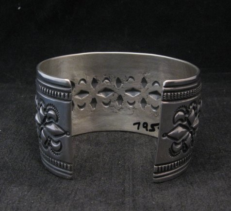 Image 5 of Wide Navajo Handmade Repousse Stamped Sterling Silver Bracelet, Darryl Becenti