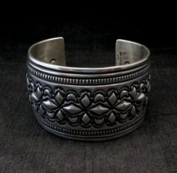 Wide Navajo Handmade Repousse Stamped Sterling Silver Bracelet, Darryl Becenti