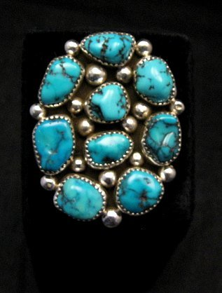 Image 0 of Huge Native American Navajo Kingman Turquoise Nugget Ring Sz8